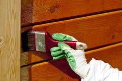 Mano che vernicia parete di legno in arancio Fotografia Stock Libera da Diritti