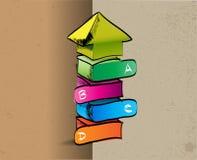 A mano coloreado encima de flecha con cuatro pasos ABCD Fotografía de archivo libre de regalías