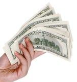Mano con $100 banconote Fotografia Stock