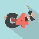Mano con diseño de la tipografía de la bomba C4 Fotografía de archivo libre de regalías