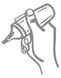 Mano con doodle de la etiqueta de plástico. Fotografía de archivo libre de regalías