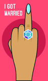 Mano con el anillo de diamante stock de ilustración