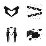 Mano con el corazón, bandera, hombres Los iconos de la colección de Gayset en estilo negro vector el web común del ejemplo del sí Foto de archivo