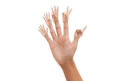 Mano con el dedo del número 1-5 Fotografía de archivo