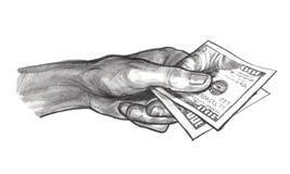 Mano con el dinero, dibujo de lápiz Fotos de archivo libres de regalías