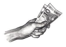 Mano con el dinero, euros Foto de archivo