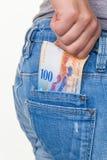 Mano con el franco suizo Fotografía de archivo libre de regalías