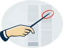 Mano con el indicador que señala la hoja de datos retra Imagen de archivo libre de regalías