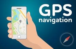 Mano con el mapa móvil de la navegación de los gps del smartphone Imagenes de archivo