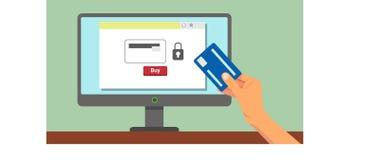Mano con el pago en línea de la tarjeta de crédito ilustración del vector