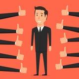 Mano con el pulgar para arriba Persona de la aprobación stock de ilustración