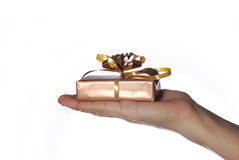 Mano con el regalo de la Navidad Fotos de archivo