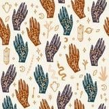 Mano con el tatuaje Cristales, serpientes y plantas de los cactus Ojo de Providence Símbolo de la diosa de la luna Astrología, al ilustración del vector