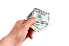 Mano con i dollari Fotografia Stock Libera da Diritti