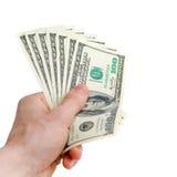 Mano con i dollari Fotografia Stock