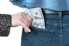Mano con i dollari nella tasca posteriore Fotografia Stock Libera da Diritti