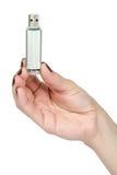 Mano con il bastone del usb Fotografie Stock