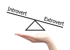 Mano con il concetto dell'estroverso e dell'introverso Immagini Stock