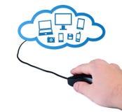 Mano con il concetto nube-di calcolo del mouse del calcolatore. immagine stock libera da diritti