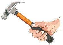 Mano con il martello da carpentiere Immagini Stock