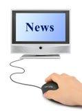 Mano con il mouse e le notizie Immagine Stock Libera da Diritti