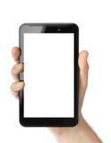Mano con il pc del touchpad Fotografia Stock