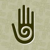 Mano con il simbolo a spirale Immagine Stock