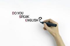Mano con il testo di scrittura dell'indicatore: Parlate inglese? Fotografia Stock Libera da Diritti