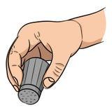 Mano con l'agitatore di sale su fondo bianco illustrazione di stock