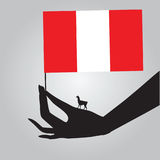 Mano con la bandera Perú Imagen de archivo libre de regalías
