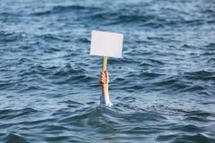 Mano con la bandiera in bianco Fotografia Stock