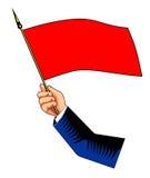 Mano con la bandiera rossa Fotografia Stock Libera da Diritti