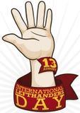 Mano con la cinta para celebrar a los zurdos internacionales día, ejemplo del vector Imagen de archivo