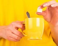 Mano con la fetta di zucchero Fotografie Stock