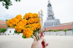 Mano con la flor, el palillo del incienso y las velas para la adoración Buda i Imagen de archivo