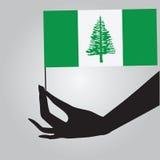 Mano con la isla de Norfolk de la bandera stock de ilustración