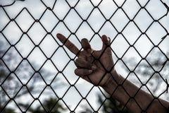 Mano con la jaula de la malla, manos con la cerca de acero de la malla Fotos de archivo