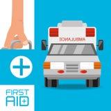 Mano con la maleta y la ambulancia del equipo de primeros auxilios a la urgencia ilustración del vector