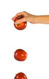 Mano con la manzana que cae Fotografía de archivo libre de regalías