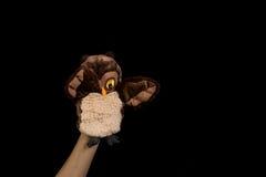 Mano con la marioneta tímida Foto de archivo libre de regalías