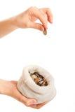 Mano con la moneda y el bolso Imágenes de archivo libres de regalías