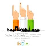 Mano con la muestra de votación de la India ilustración del vector