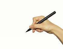 Mano con la penna isolata su bianco Fotografie Stock Libere da Diritti