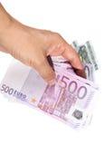 Mano con le euro fatture Fotografia Stock Libera da Diritti