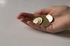 Mano con le monete di oro Immagini Stock