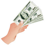 Mano con los billetes de banco del dólar Imagenes de archivo