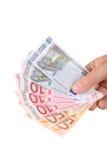 Mano con los billetes de banco euro Fotografía de archivo