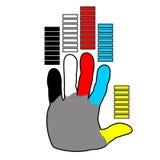 Mano con los fingeres coloreados Fotos de archivo