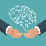 Mano con proceso del cerebro humano libre illustration