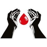 Mano con símbolo del vector de la gota de sangre Foto de archivo